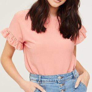Pink Ruffle Sleeve Top in S, M, L